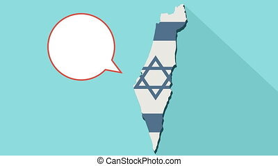 Animation of a long shadow Israel map with its flag and a comic balloon