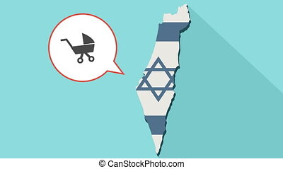 Animation of a long shadow Israel map with its flag and a comic balloon with a baby carriage