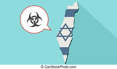Animation of a long shadow Israel map with its flag and a comic balloon with a biohazard sign