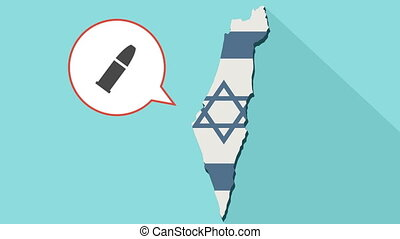 Animation of a long shadow Israel map with its flag and a comic balloon with a bullet icon