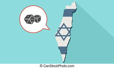 Animation of a long shadow Israel map with its flag and a comic balloon with a dices