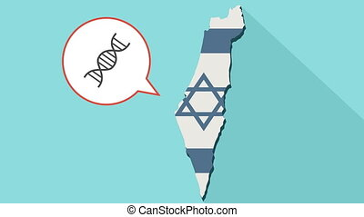 Animation of a long shadow Israel map with its flag and a comic balloon with a DNA sign