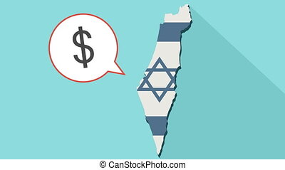 Animation of a long shadow Israel map with its flag and a comic balloon with a dollar sign
