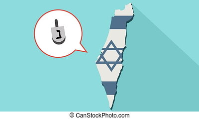 Animation of a long shadow Israel map with its flag and a comic balloon with a dreidel icon