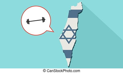 Animation of a long shadow Israel map with its flag and a comic balloon with a dumbbell