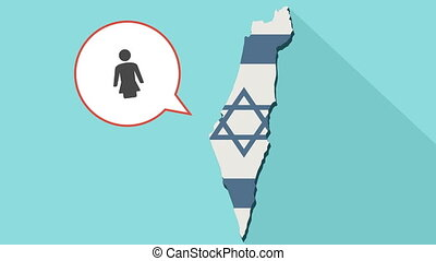 Animation of a long shadow Israel map with its flag and a comic balloon with a female pictogram