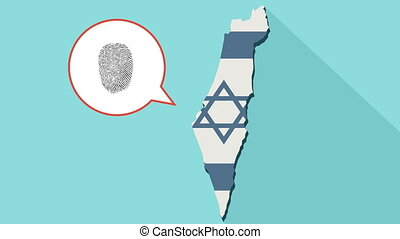 Animation of a long shadow Israel map with its flag and a comic balloon with a fingerprint