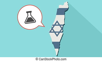 Animation of a long shadow Israel map with its flag and a comic balloon with a flask