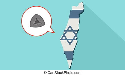 Animation of a long shadow Israel map with its flag and a comic balloon with a hamantash
