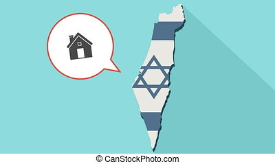 Animation of a long shadow Israel map with its flag and a comic balloon with a house