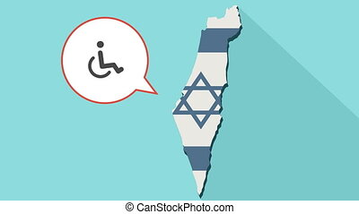 Animation of a long shadow Israel map with its flag and a comic balloon with a human figure in a wheelchair icon