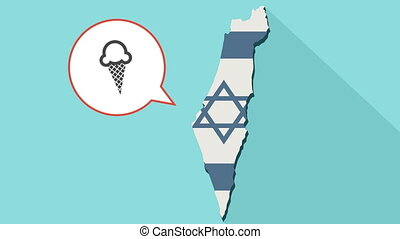 Animation of a long shadow Israel map with its flag and a comic balloon with a ice cream cone
