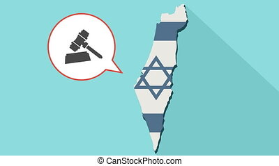 Animation of a long shadow Israel map with its flag and a comic balloon with a judge gavel.