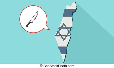 Animation of a long shadow Israel map with its flag and a comic balloon with a knife icon