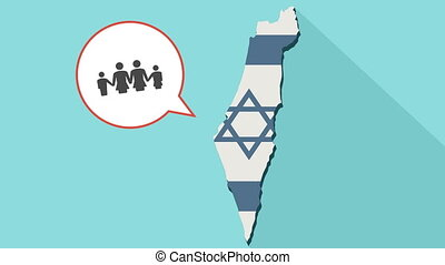 Animation of a long shadow Israel map with its flag and a comic balloon with a lesbian parents family pictogram