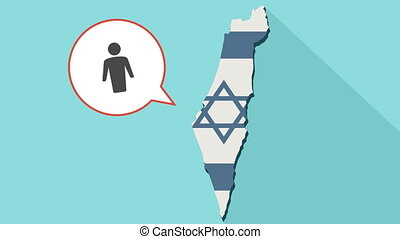 Animation of a long shadow Israel map with its flag and a comic balloon with a male pictogram