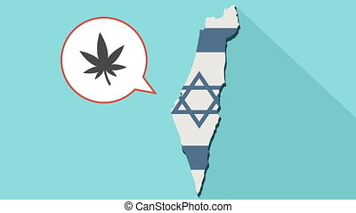 Animation of a long shadow Israel map with its flag and a comic balloon with a marijuana leaf