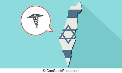 Animation of a long shadow Israel map with its flag and a comic balloon with a medical symbol
