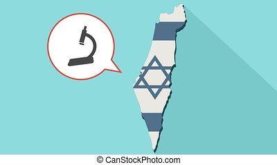 Animation of a long shadow Israel map with its flag and a comic balloon with a microscope icon