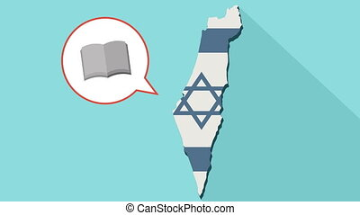 Animation of a long shadow Israel map with its flag and a comic balloon with a open book