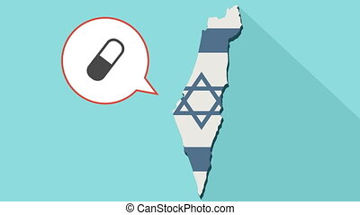 Animation of a long shadow Israel map with its flag and a comic balloon with a pill