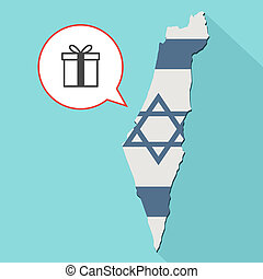 Animation of a long shadow Israel map with its flag and a comic balloon with a present icon