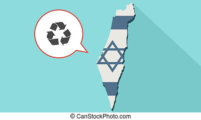 Animation of a long shadow Israel map with its flag and a comic balloon with a recycle sign
