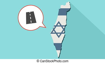 Animation of a long shadow Israel map with its flag and a comic balloon with a road icon
