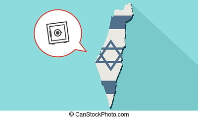 Animation of a long shadow Israel map with its flag and a comic balloon with a safe