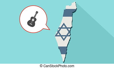 Animation of a long shadow Israel map with its flag and a comic balloon with a six string acoustic guitar.