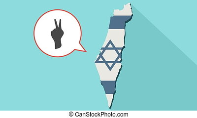 Animation of a long shadow Israel map with its flag and a comic balloon with a V hand sign