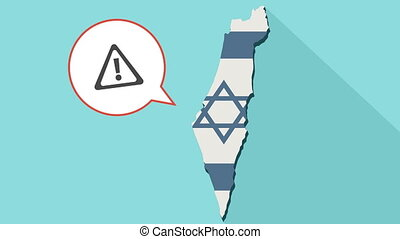 Animation of a long shadow Israel map with its flag and a comic balloon with a warning sign