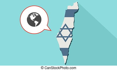 Animation of a long shadow Israel map with its flag and a comic balloon with a world globe
