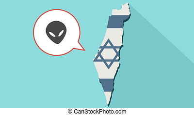 Animation of a long shadow Israel map with its flag and a comic balloon with alien face