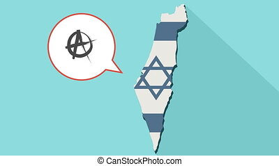Animation of a long shadow Israel map with its flag and a comic balloon with an anarchy sign