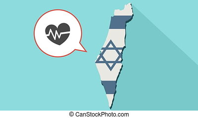 Animation of a long shadow Israel map with its flag and a comic balloon with an heart and heartbeat sign