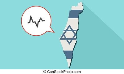 Animation of a long shadow Israel map with its flag and a comic balloon with an heartbeat sign