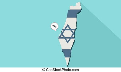 Animation of a long shadow Israel map with its flag and a comic balloon with car