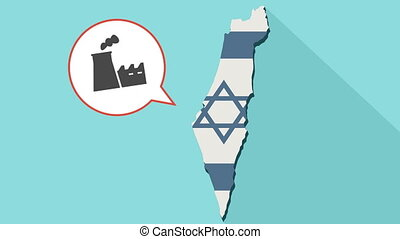 Animation of a long shadow Israel map with its flag and a comic balloon with factory