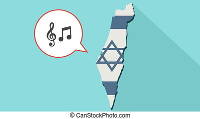 Animation of a long shadow Israel map with its flag and a comic balloon with g clef and note music