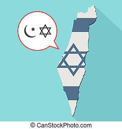 Animation of a long shadow Israel map with its flag and a comic balloon with islam and judaism religions symbols