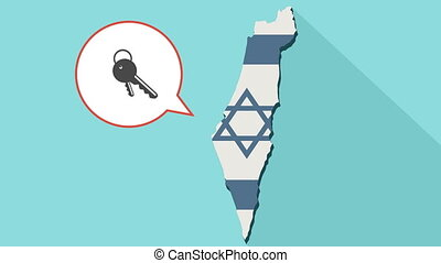 Animation of a long shadow Israel map with its flag and a comic balloon with keys