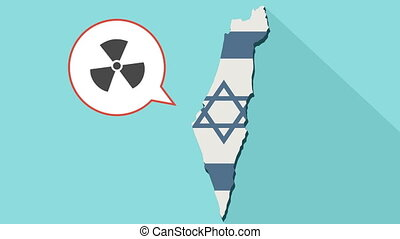 Animation of a long shadow Israel map with its flag and a comic balloon with radioactive sign