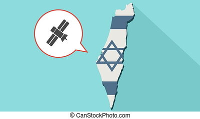Animation of a long shadow Israel map with its flag and a comic balloon with satellite