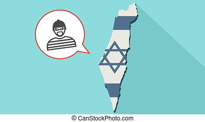 Animation of a long shadow Israel map with its flag and a comic balloon with thief