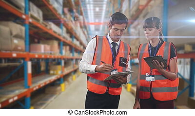 Animation of a male and female warehouse workers counting