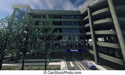 An animation of a modern parking lot. The garage has a new and design exterior.
