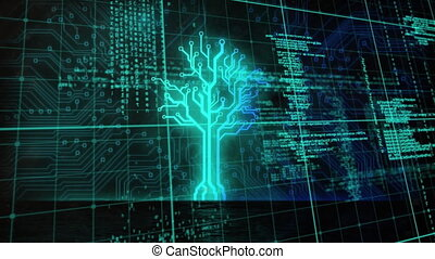 Animation of a neon, blue tree over data processing and ...