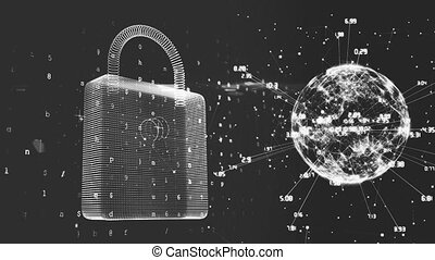 Animation of a padlock and a globe spinning with data processing on black background