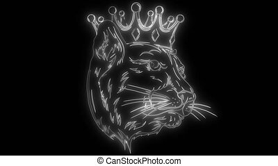 animation of a panther and that lights up - simple black ...
